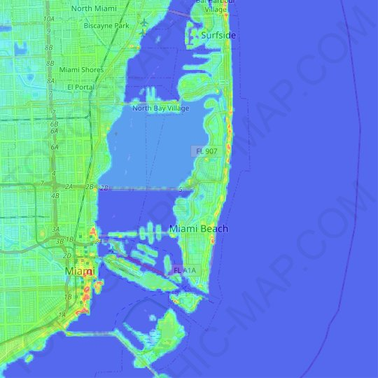 Miami Beach topographic map, elevation, relief