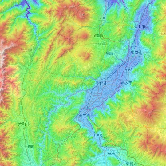 Nagano topographic map, elevation, relief