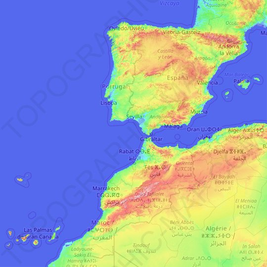Spain topographic map, elevation, relief