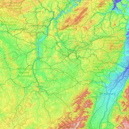 Moselle topographic map, elevation, relief