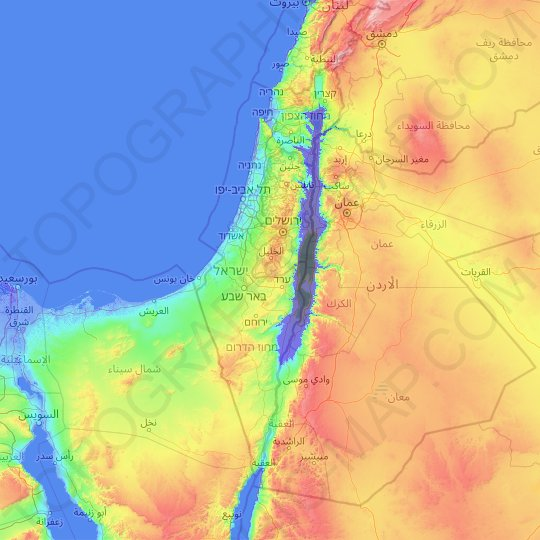 Israel topographic map, elevation, relief