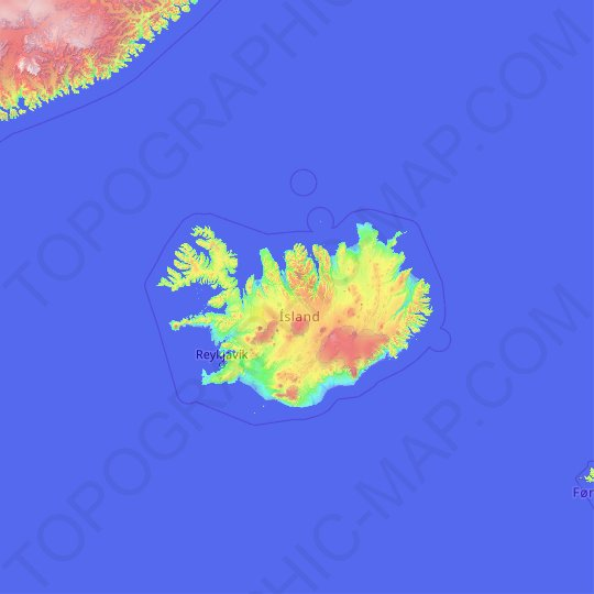 Iceland topographic map, elevation, relief